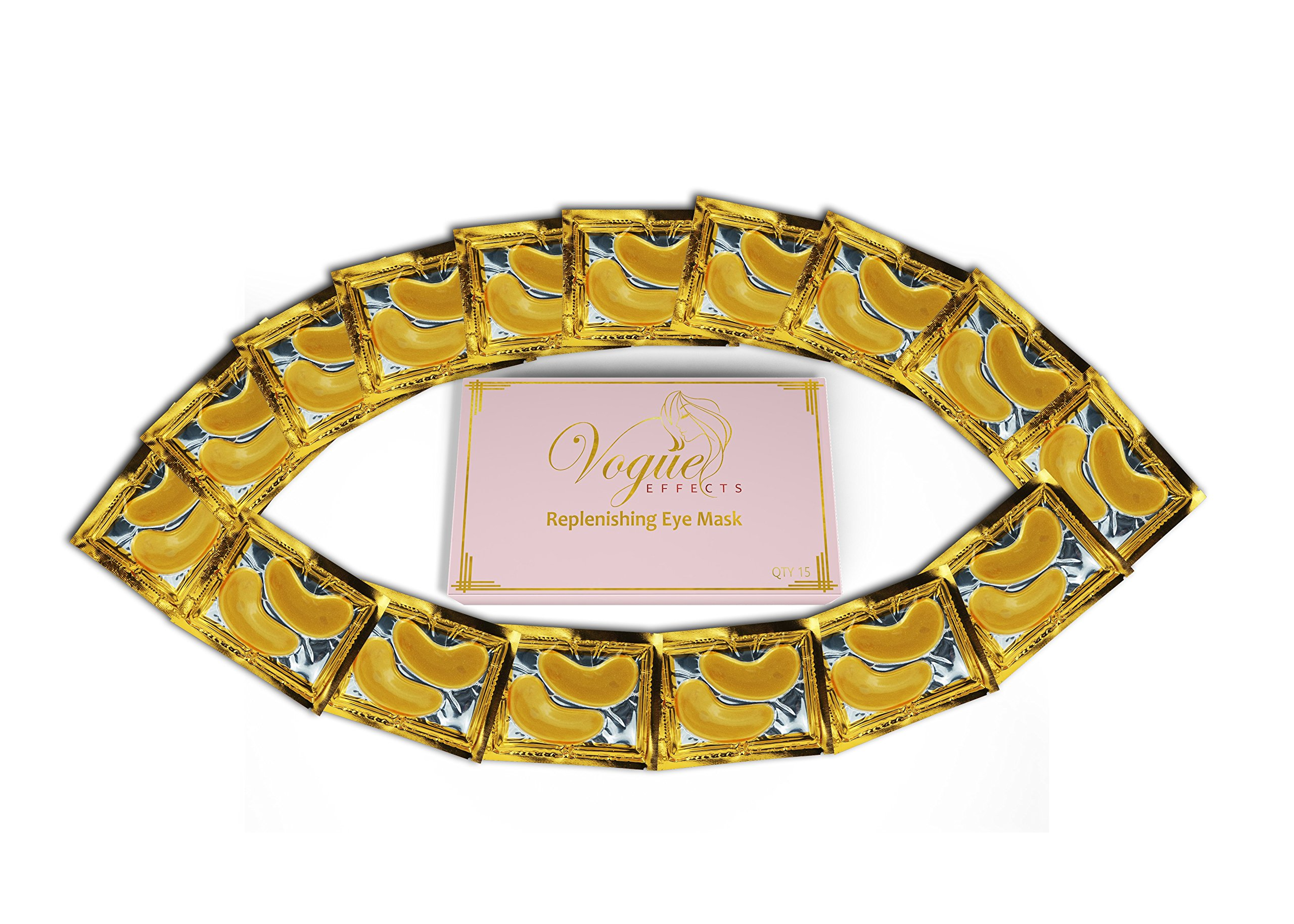 24k Gold Eye Mask - with Collagen by Vogue Effects (15 Pairs), Hyaluronic Acid Treatment for Puffy Eyes, Dark Circles Corrector, Used for Under Eye Bags, Anti Aging Mask Gift