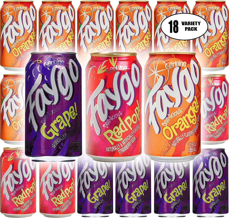 Faygo Orange, Redpop, Grape Soda - Variety Pack, 12oz (Pack of 18, Total of 216 Fl Oz)