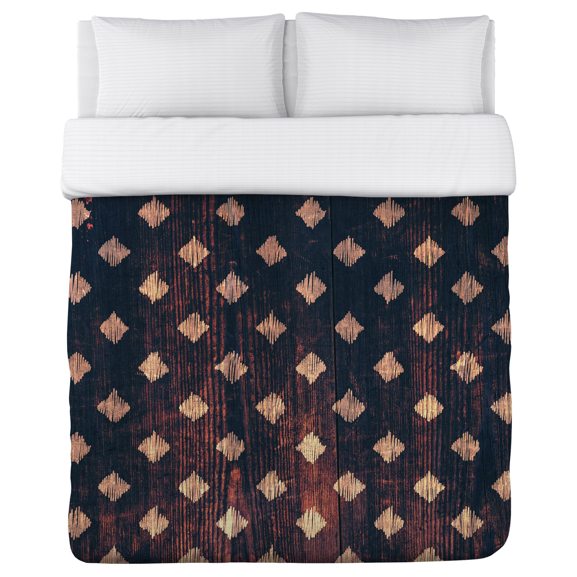 One Bella Casa Scribble Scrabble Wood Duvet Cover by OBC, King, Brown