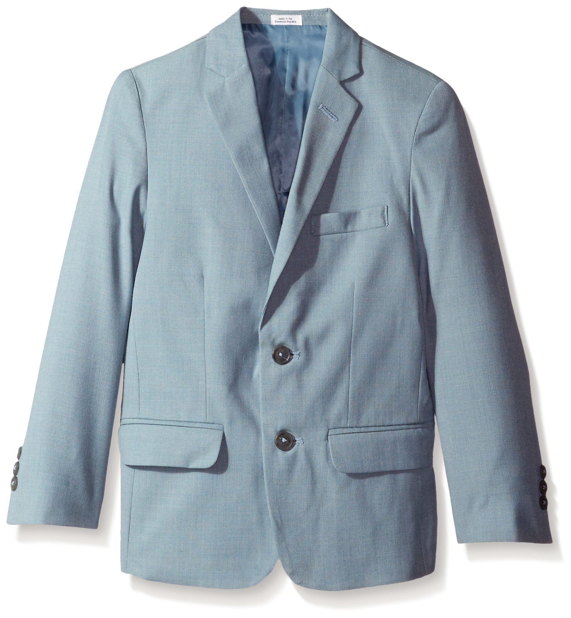 Calvin Klein Big Boys' Striated Sharkskin Jacket, Medium Teal, 16
