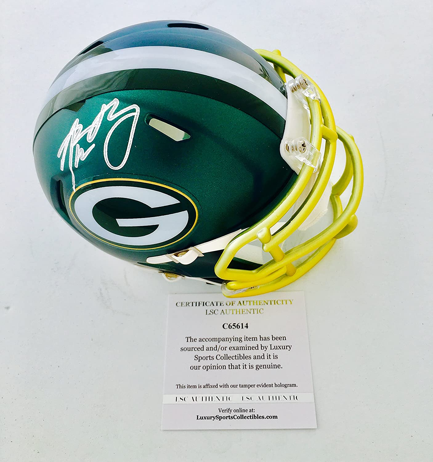 Packers Aaron Rodgers Signed Blaze Mini Helmet LSC Authentic COA