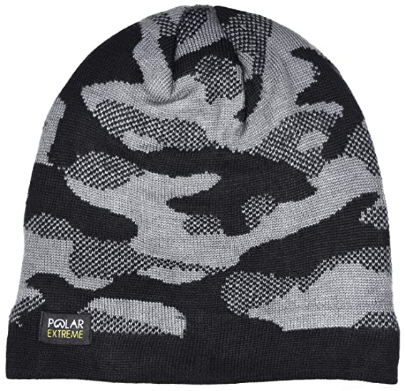 d4a87467ee5 Polar Extreme Men s Insulated Thermal Knit Camouflage Beanie Black Gray    Navy (Camouflage Black) at Amazon Men s Clothing store
