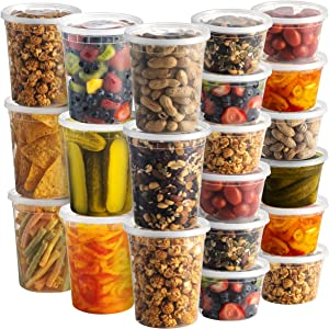 Deli Food Containers with Lids - (48 Sets) 24-32 Oz Quart Size & 24-16 oz Pint Size Airtight Food Storage Takeout Meal Prep Containers with 54 Lids, BPA-Free, Dishwasher, Microwave Safe