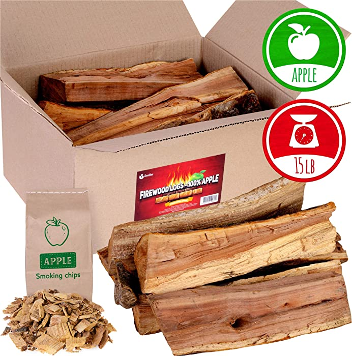 Apple firewood logs 15-20lbs and Wood Chips - Fire logs for Fireplace - Cooking Wood for BBQ and Smoking