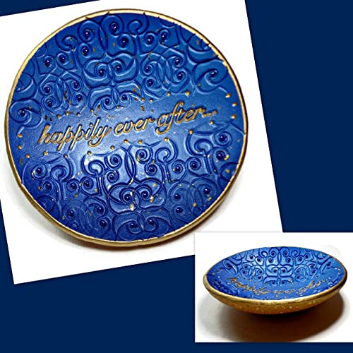 Amazon.com: Navy Blue Wedding Ring Dish-Ready to Ship- Handmade ...