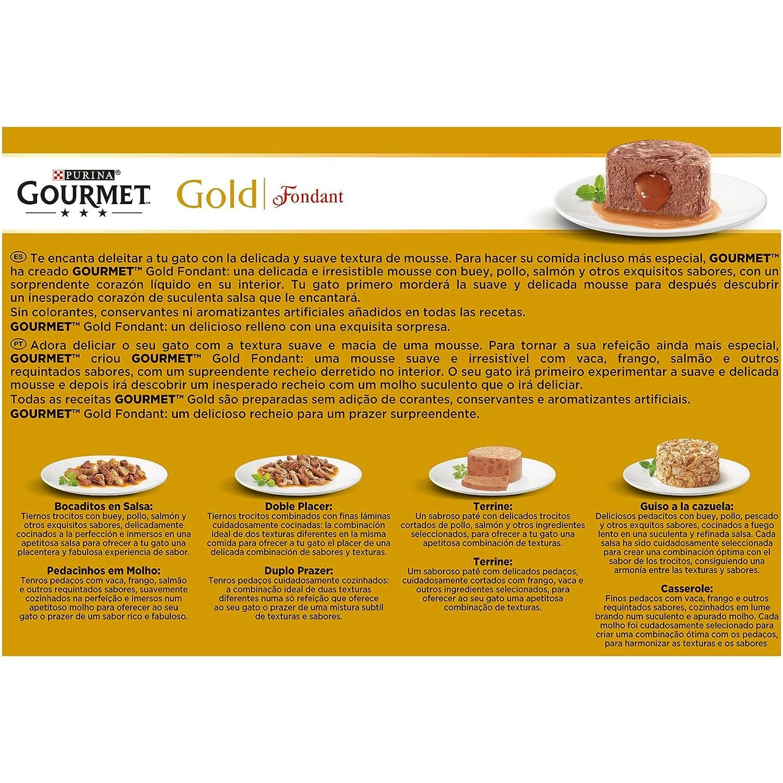 Purina Gourmet Gold Fondant comida para gatos Surtido sabores 8 x [12 x 85 g]: Amazon.es: Productos para mascotas