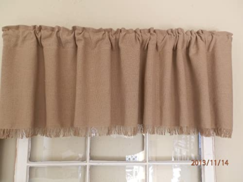 Checkerberry Creek Burlap Fringed Window Valance Handcrafted by Nana