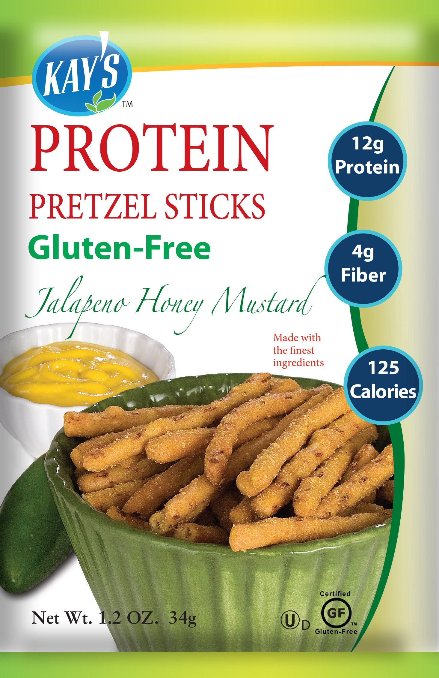 Kay's Naturals Protein Pretzels, Jalapeno Honey Mustard, Gluten-Free, 1.2 Ounce (Pack of 6)