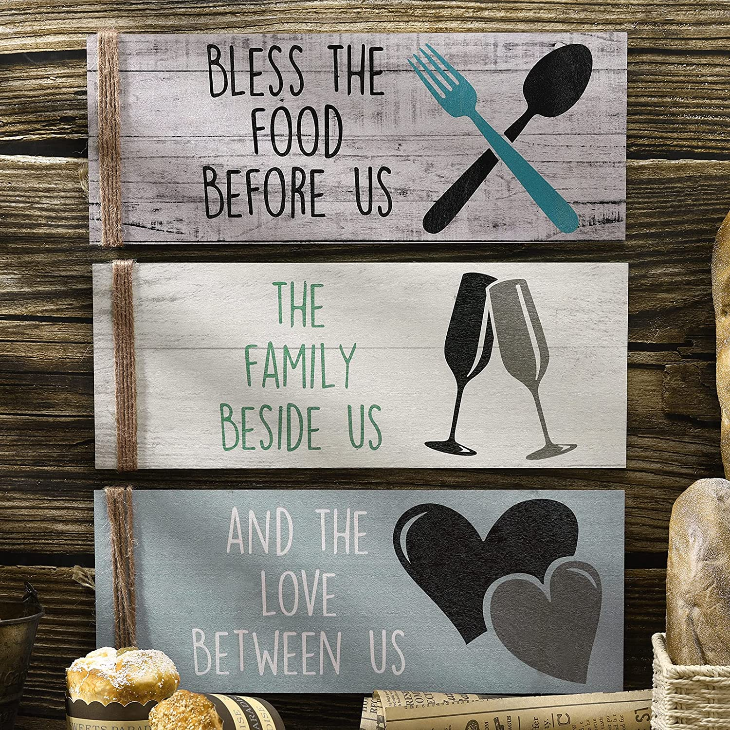 3 Pieces Bless The Food Before US Sign, Wooden Kitchen Wall Decor, Farmhouse Family Love Wood Sign Plaque for Home Dining Room Kitchen Restaurant (Chic Color)
