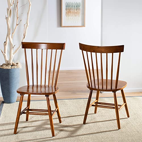 Safavieh American Homes Collection Parker Country Farmhouse Brown Oak Spindle Side Chair Set of 2