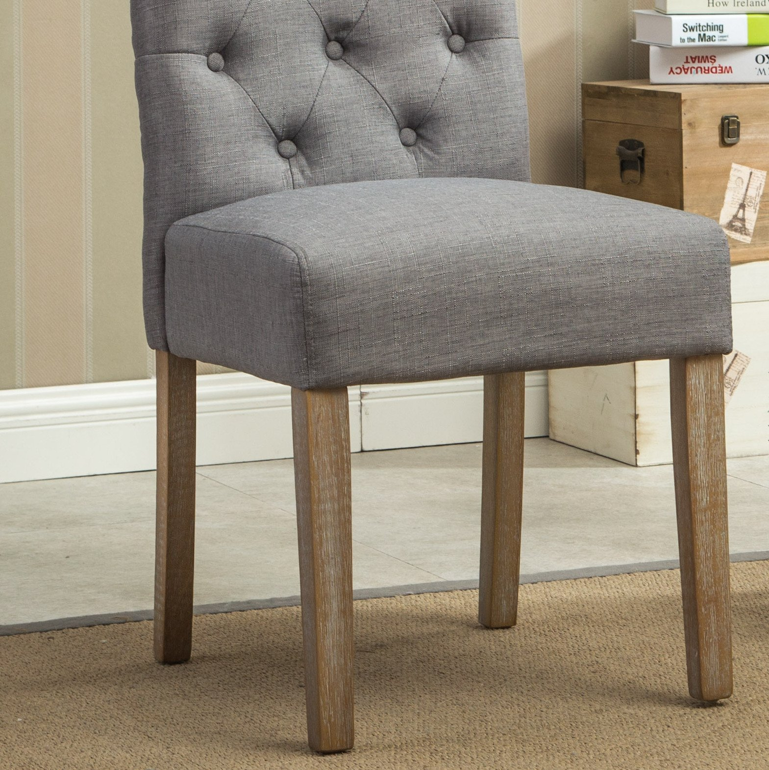 Roundhill Furniture Habit Grey Solid Wood Tufted Parsons Dining Chair (Set of 2), Gray by Roundhill Furniture (Image #8)