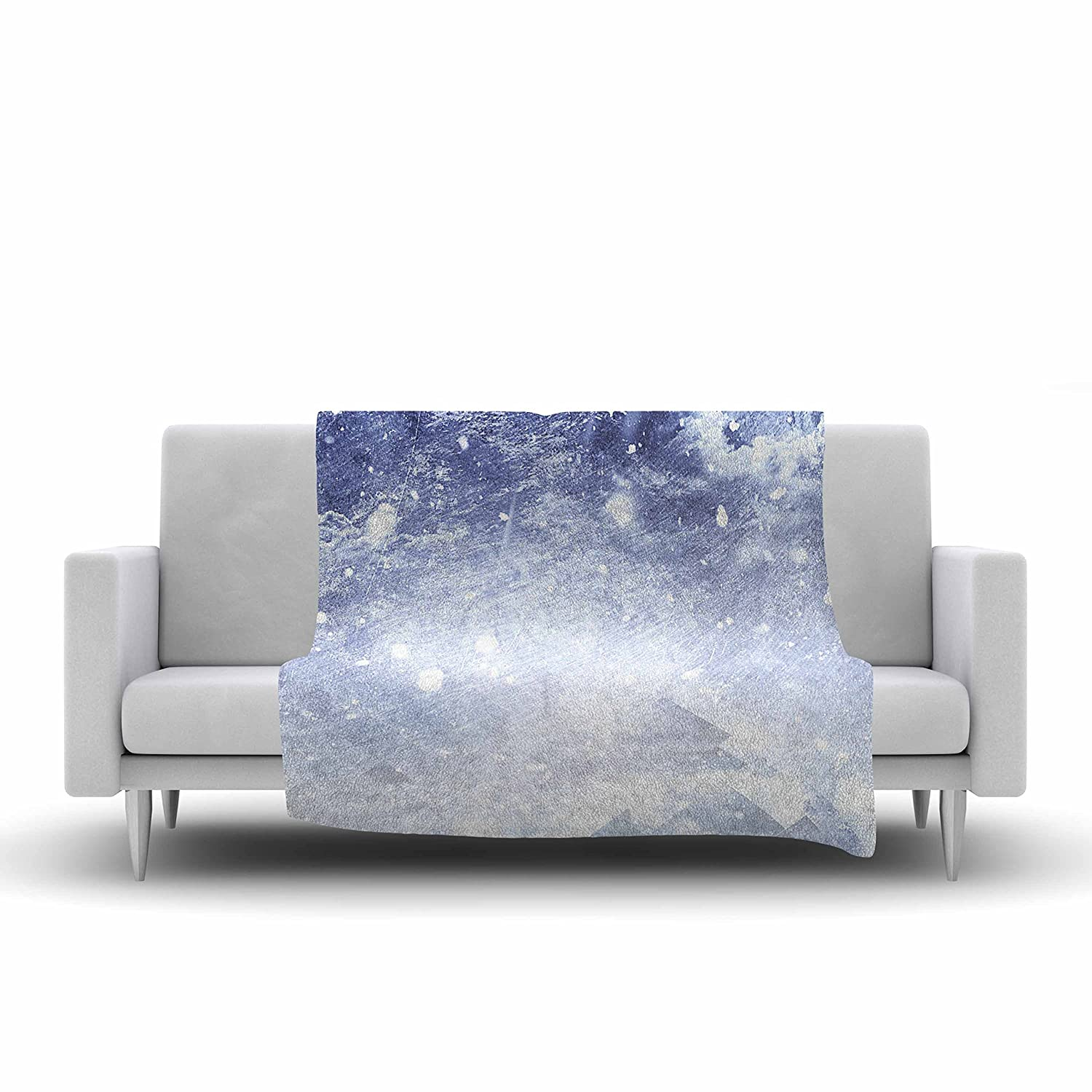 60 X 50 60 by 50-Inch Kess InHouse ULF Harstedt Even Mountains Get Cold Blue White Fleece Throw Blanket