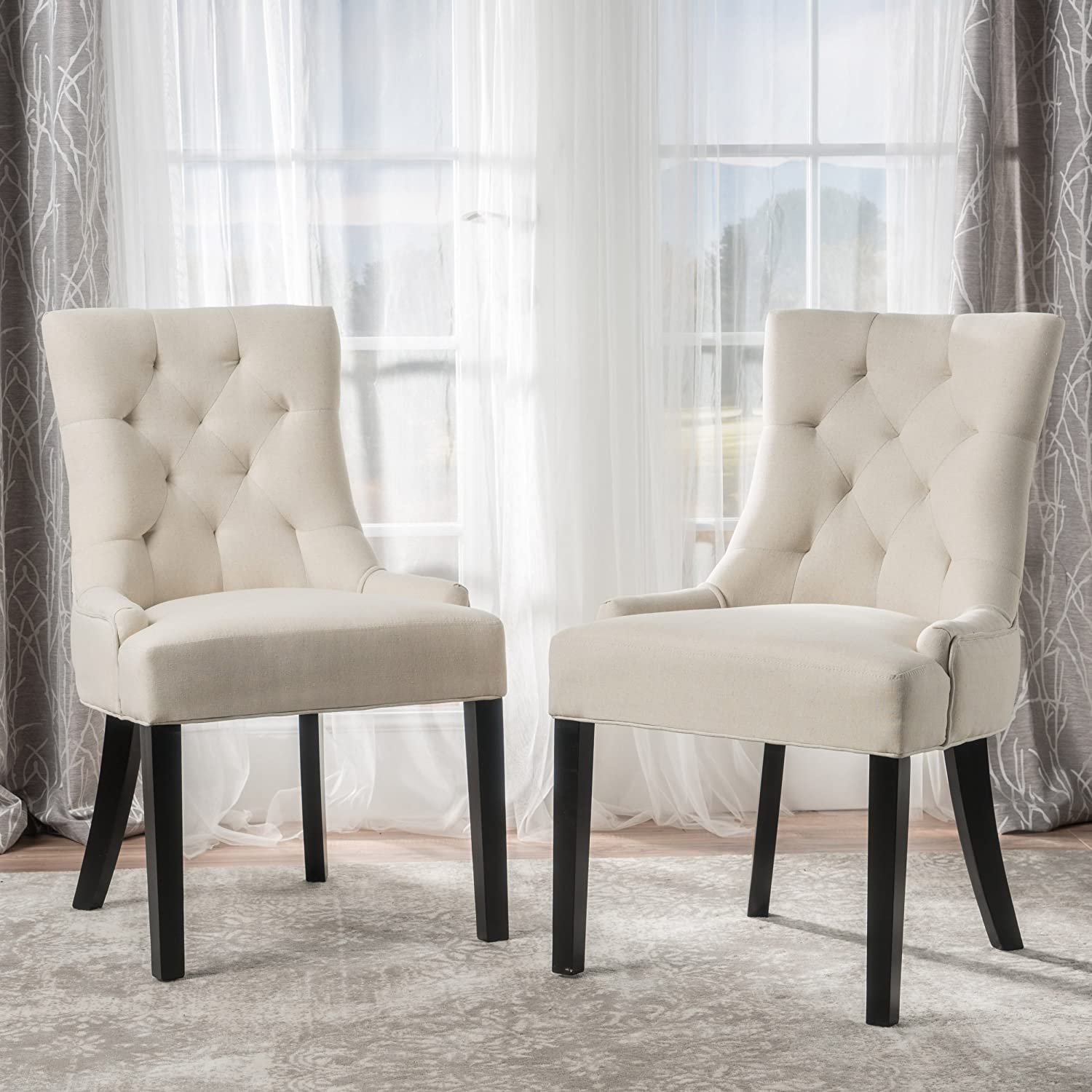 Amazon com christopher knight home 295013 hayden tufted fabric dining accent chair set of 2 beige chairs