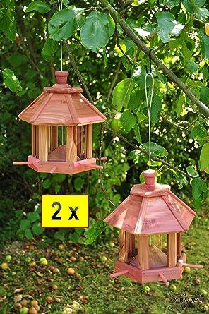 2 x pajarera, Futterhaus-Futterstation, con iluminación jardín - la luz en la romántica con doble Pack