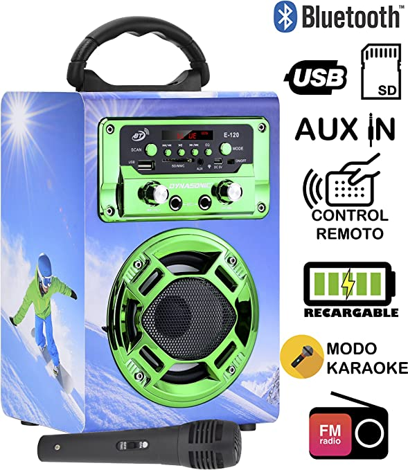 DYNASONIC - Mini Altavoz Bluetooth Portátil, Diseño Snowboarding 120-5, Color Verde | Mini Altavoz Inalámbrico Karaoke