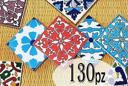 Piastrelle Di Ceramica Decorate.130 Mattonelle Miste In Ceramica Smaltata Pacco Speciale Contenente 130 Mattonelle Decorate 10 X 10 Cm Spessore 0 6 Cm Mattonelle Tunisine