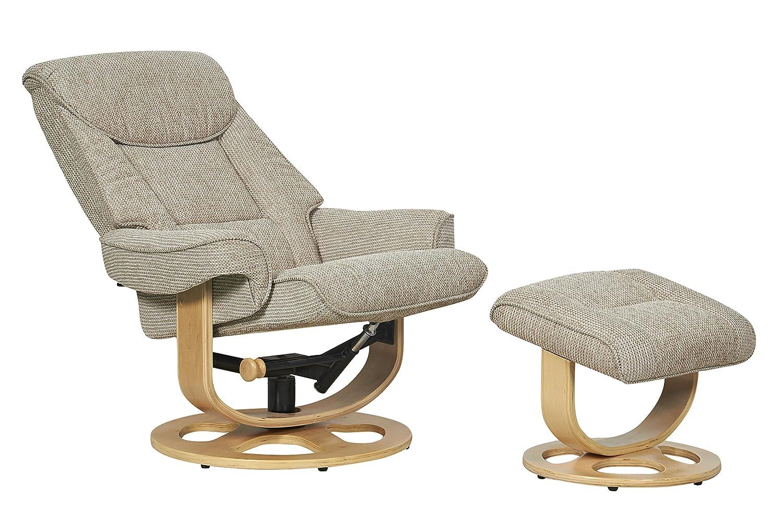 the capri fabric recliner swivel chair in stone amazon co uk