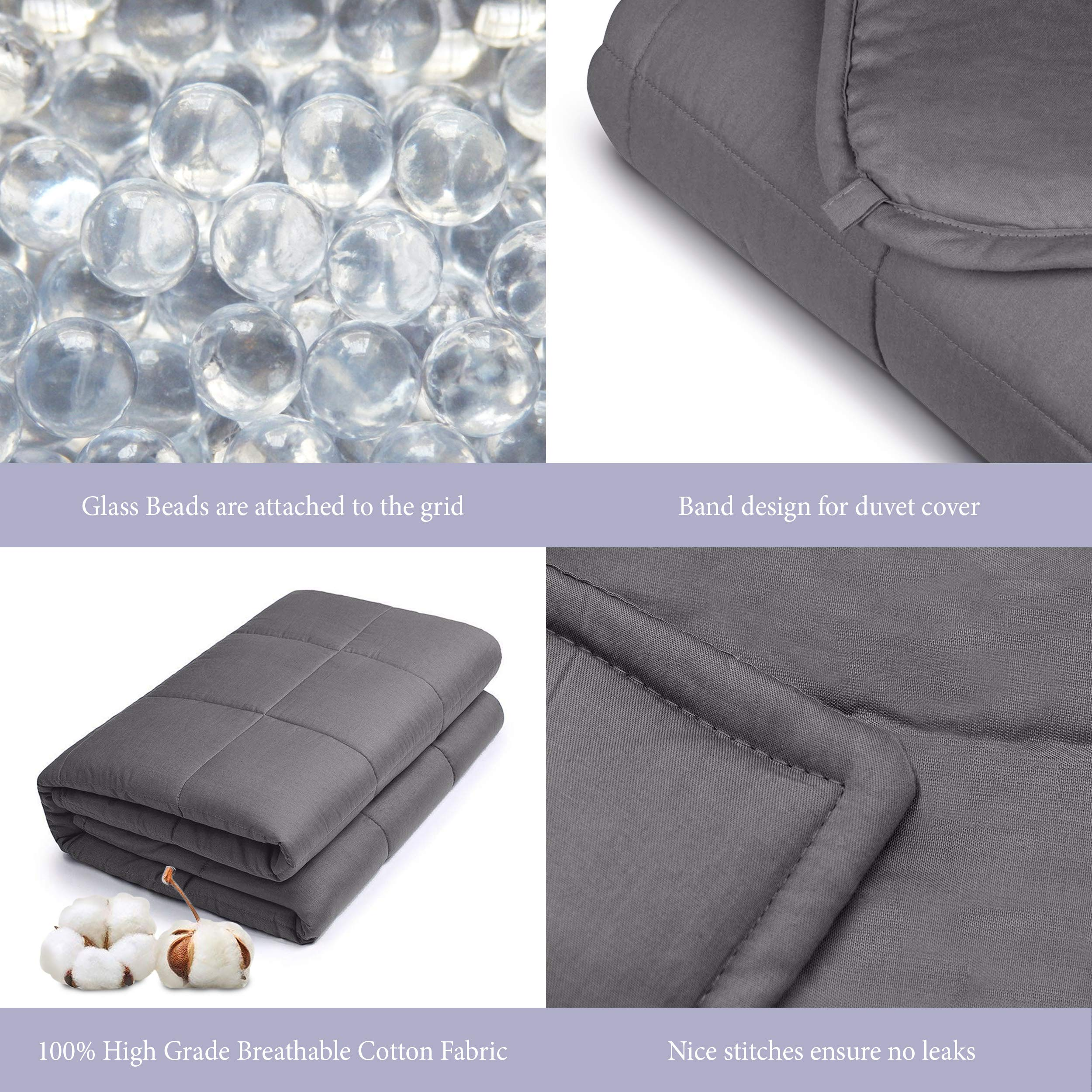 Royal Therapy Weighted Blanket Kids Bed (10 lbs for Kids, 41''x60'') 100% Calming Cotton Blanket with Glass Beads by Royal Therapy (Image #5)
