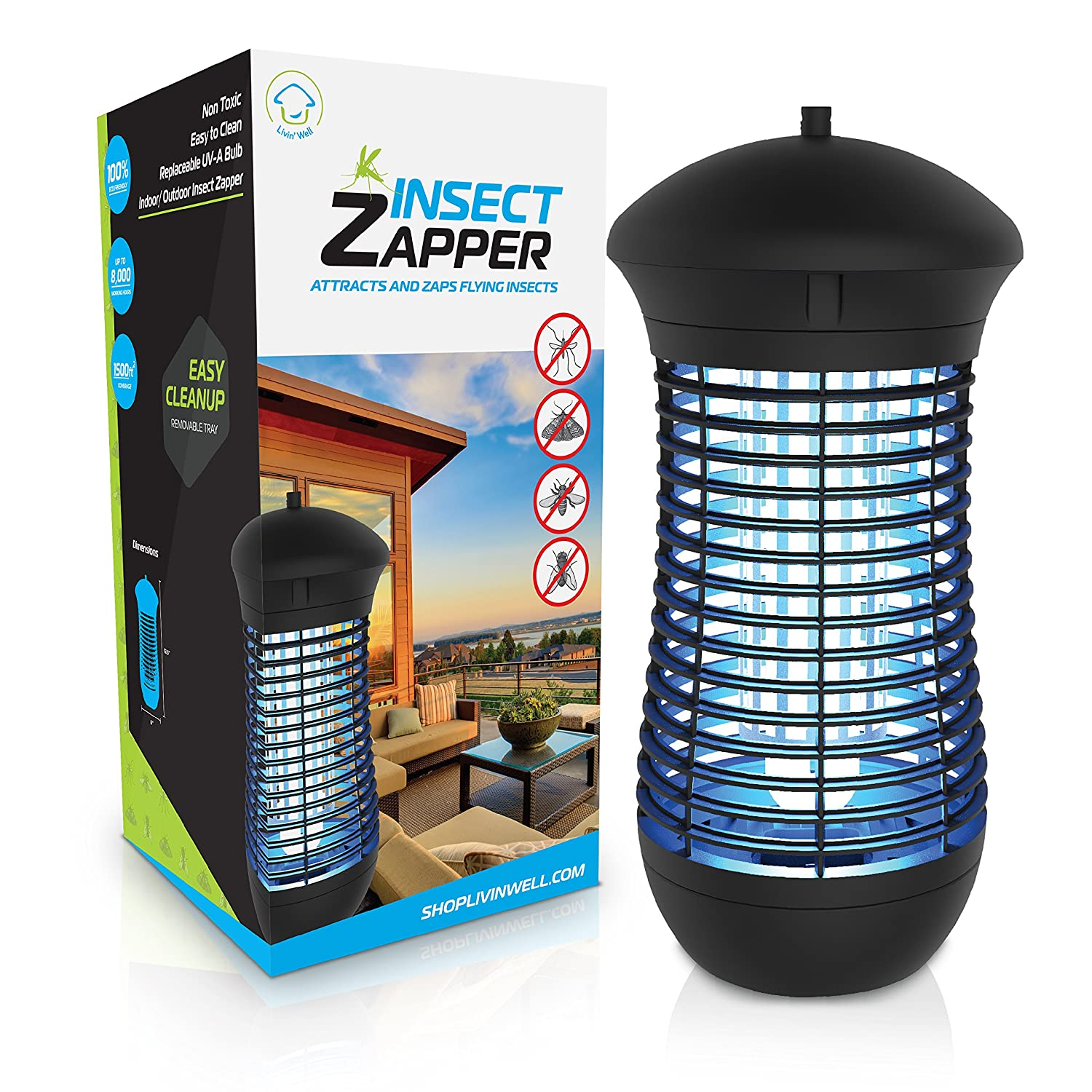 Livin' Well Electric Bug Zapper - Mini Insect Zapper Mosquito Killer Trap 5W UVA Mosquito Trap Light + Steel Outdoor Indoor Bug Zapper Grid Livin' Well GH-5N