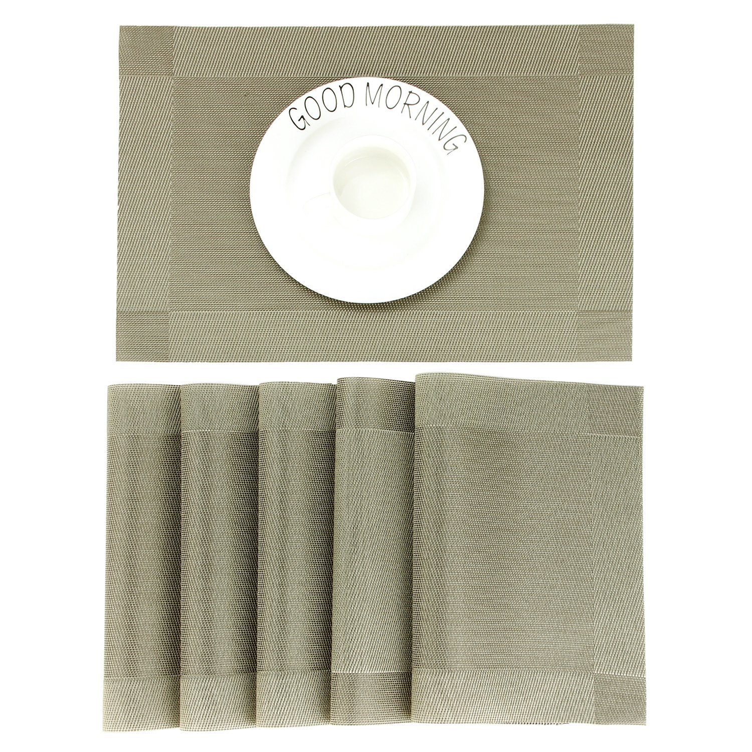 CHAOCHI Table Place Mats Set of 4 Washable Dinner Mats Stain Resistant Nonslip Placemats Wipe Clean PVC Woven Vinyl Table Mats for Kitchen Dining Tablet, Coffee Shop, Restaurant, 45CM X 30CM (Beige)