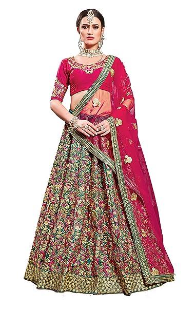 93ac5b830d Ardhangini Vastram Teal Green Phantom Silk Embroidered Bridal Lehenga choli  for women(Semi-stitched): Amazon.in: Clothing & Accessories