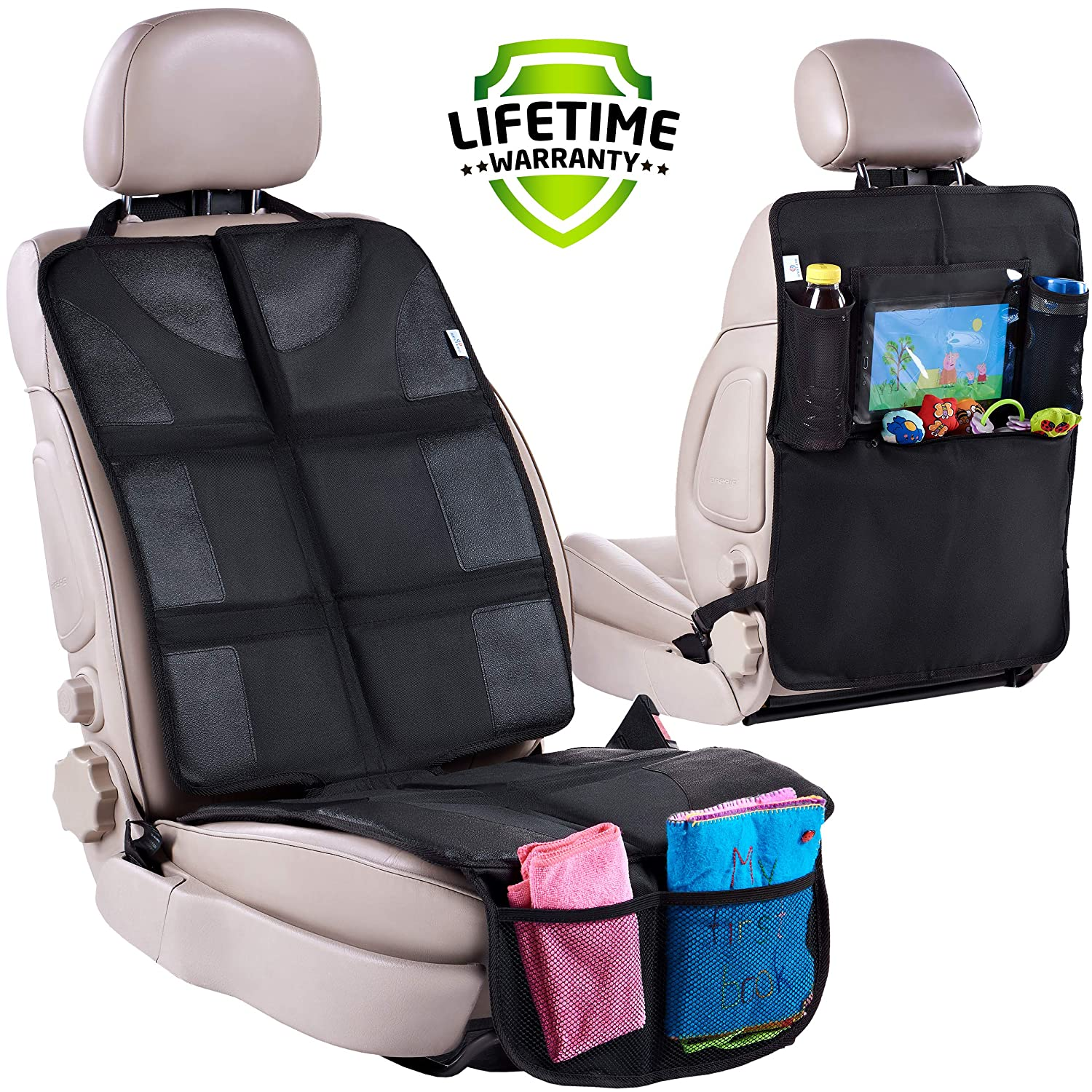 Car Seat Protector   Rear Seat Organizer for Kids - Waterproof & Stain Resistant Protective Backseat Kick Mat W/Storage Pockets & Tablet Holder - Baby Travel Kickmat & Front/Back Seat Cover Set