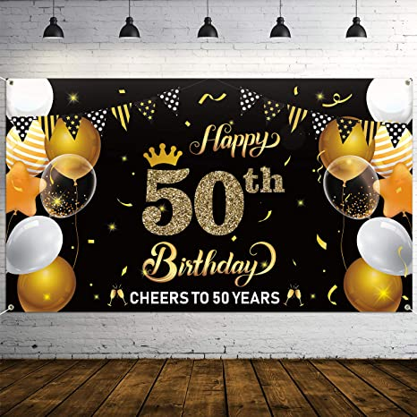 Rope Balloon Anniversary Photo Background Banner Birthday Party Supplies 72.8 x 43.3 Inch ADXCO 50th Birthday Party Supplies Set Black and Gold Including Extra Large Birthday Backdrop Banner
