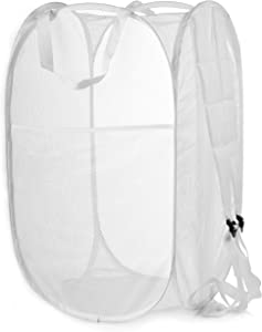 Backpack Mesh Popup Laundry Hamper - Portable, Durable Handles, Collapsible for Storage and Easy to Open. Folding Pop-Up Clothes Hampers are Great for The Kids Room, College Dorm or Travel. (White)