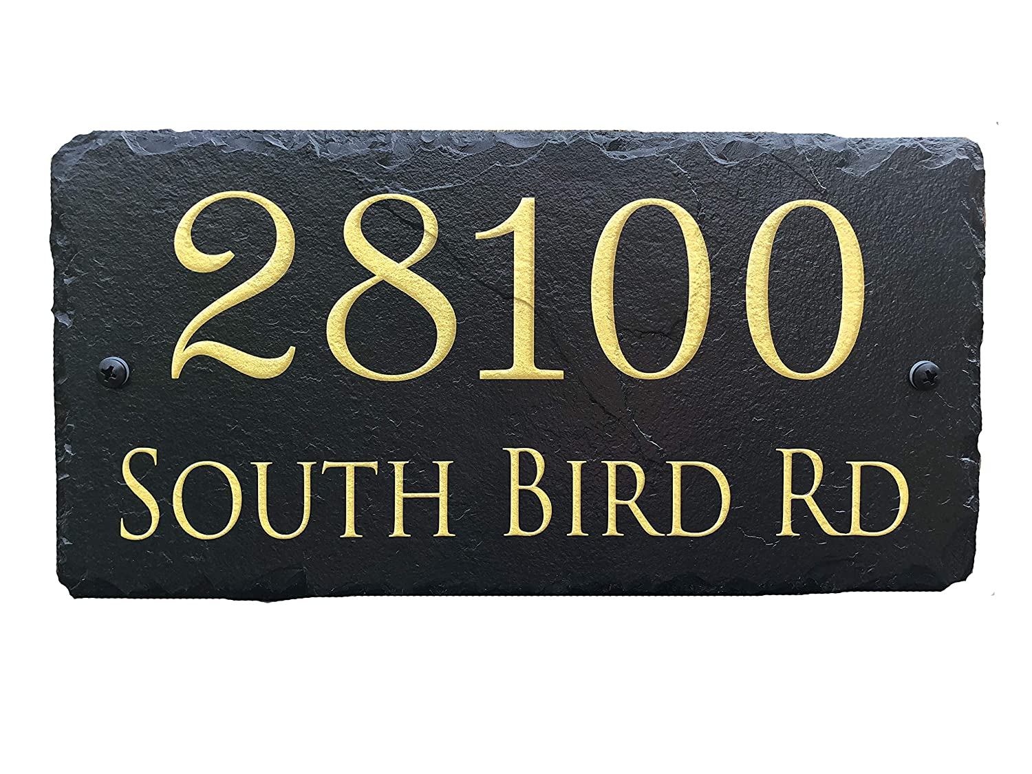 """Sassy Squirrel Beautifully Handcrafted and Customizable Slate Home Address Plaque (12'x6' or 18""""x8"""") Personalized House Sign with and mounting Hardware. Improve The Curb Appeal of Your Property"""