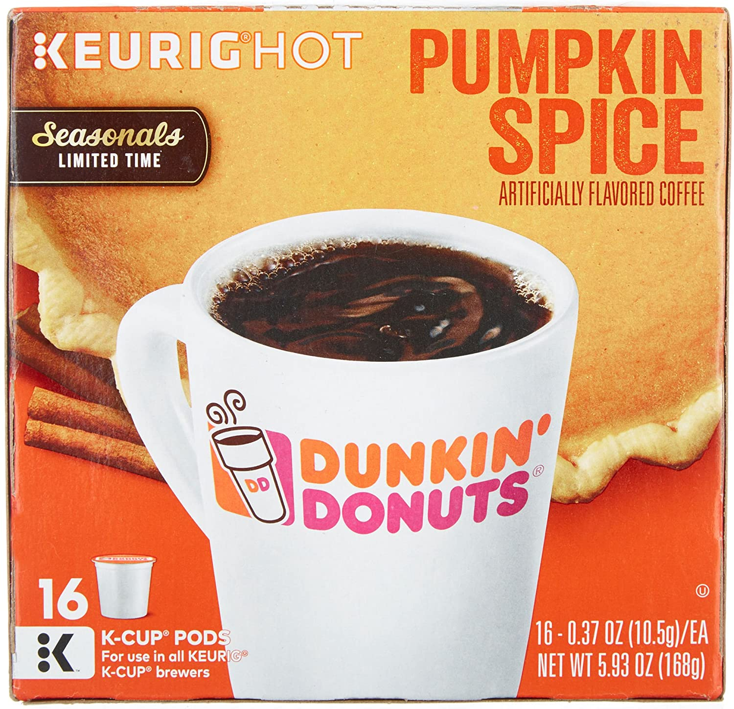 Dunkin Donuts Pumpkin Spice Flavor K-Cups for Keurig Coffee Brewers, 16 Count