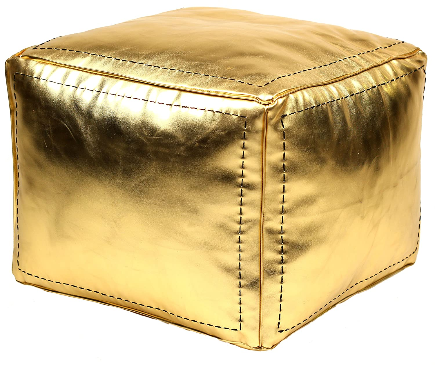 Amazon Casablanca Market Moroccan Square Faux Metallic Cotton Stuffed Leather Pouf Gold Kitchen Dining