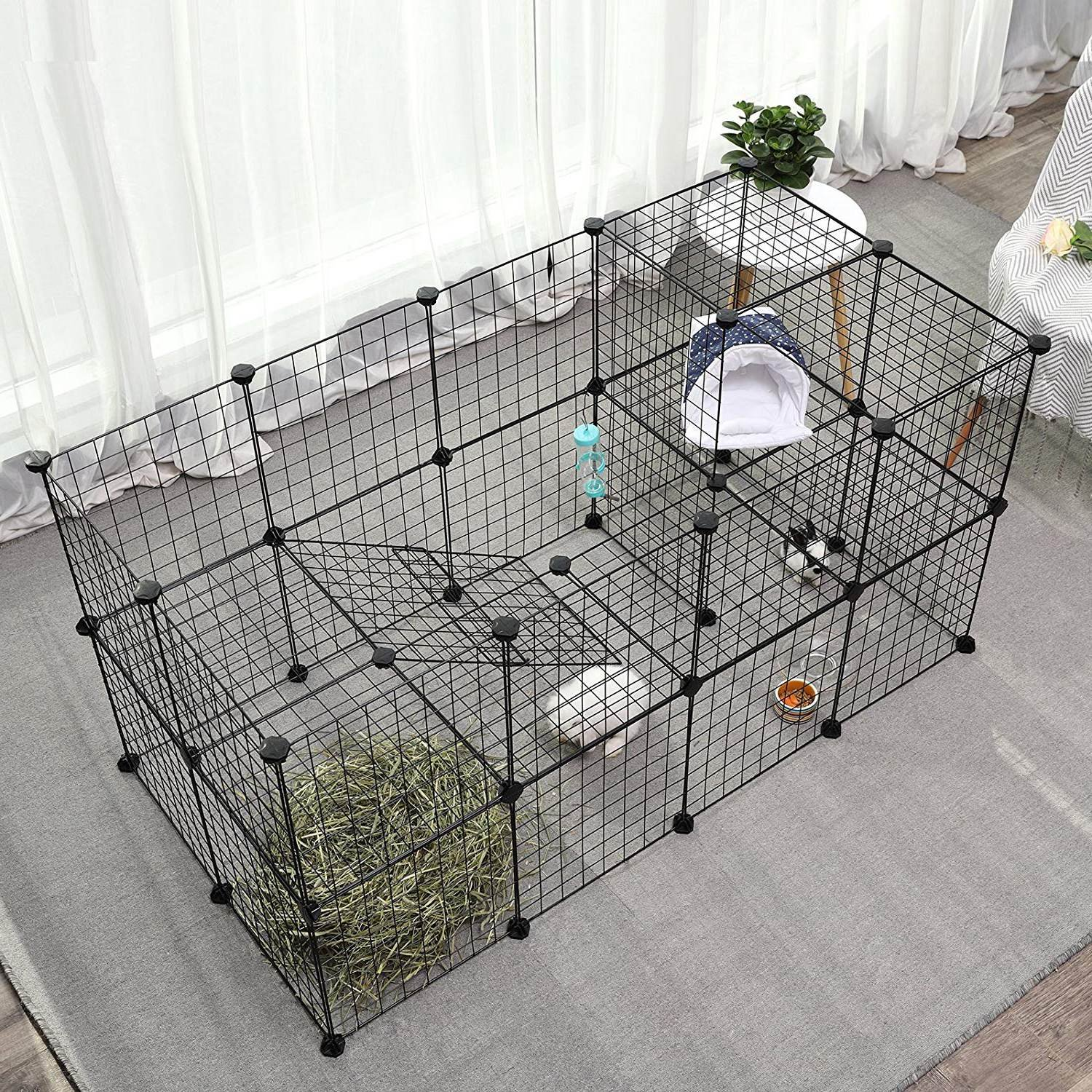 JYYG Small Pet Pen Bunny Cage Dogs Playpen Indoor Out Door Animal Fence Puppy Guinea Pigs, Dwarf Rabbits PET-F (36 Panels, Black) by JYYG (Image #4)