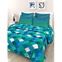 SheetKart 144 TC Cotton Double Bedsheet with 2 Pillow Covers - Blue and Green