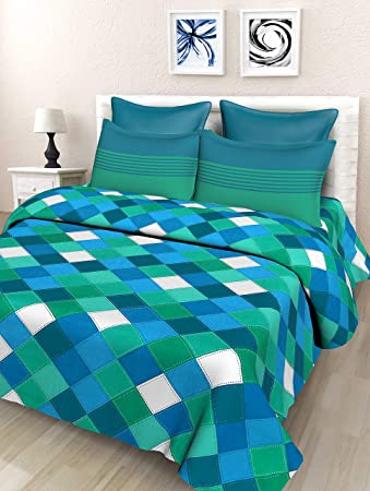 ebd054275fb SheetKart 144 TC Cotton Double Bedsheets with 2 Pillow Covers - Blue and  Green  Amazon.in  Home   Kitchen
