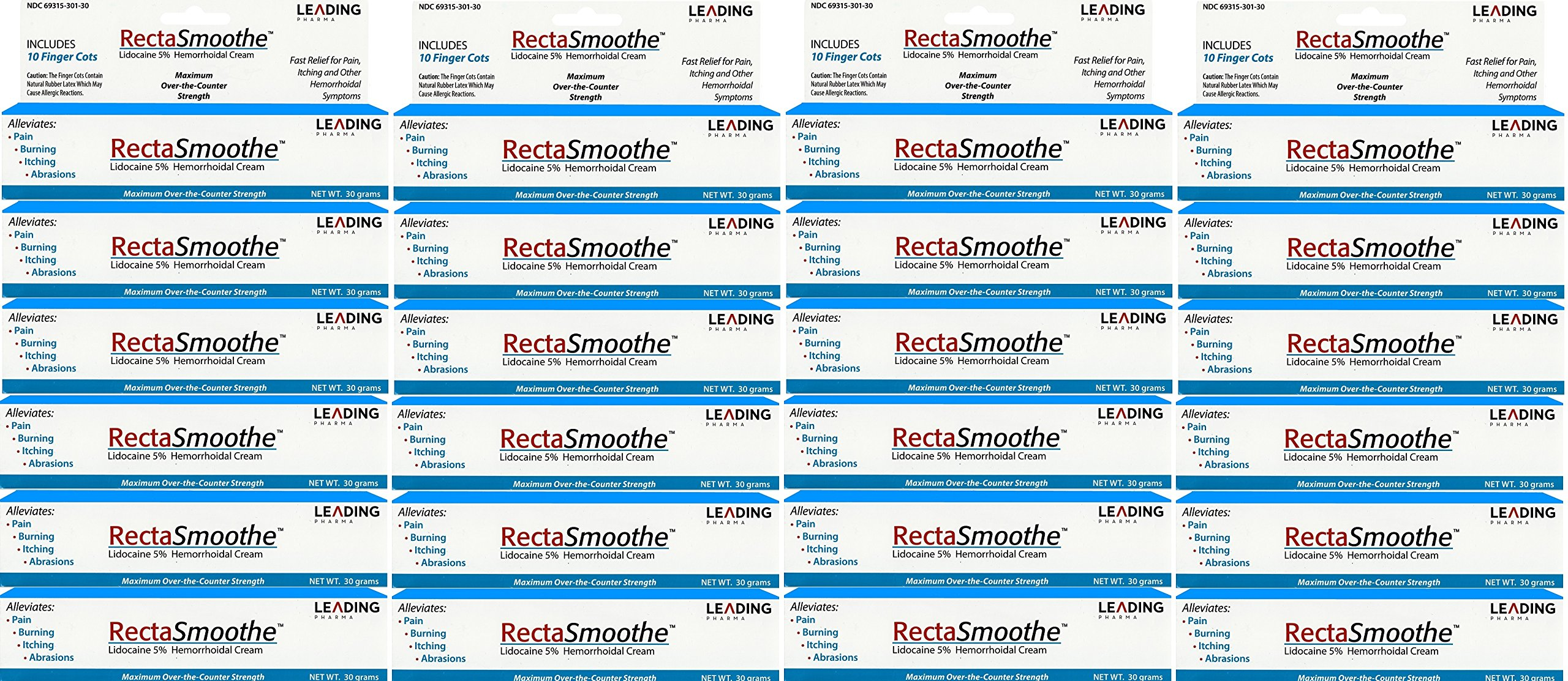 RectaSmoothe Lidocaine 5% Hemorrhoidal Anesthetic Cream, Fast Pain Relief for Hemorrhoids and Other Anorectal Disorders 1 oz. Per Tube PACK of 24