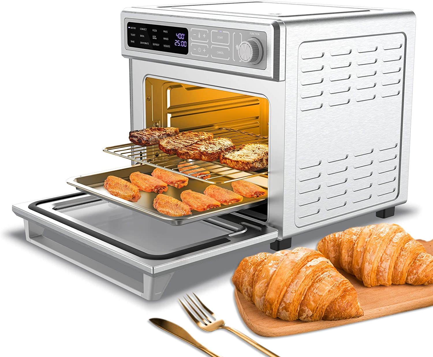 CIARRA CATOSEC01 12-in-1 Toaster Oven, Countertop Convection Oven, Air Fryer Oven with Digital Control, Large Capacity with 24L/25QT, 1700W, Stainless Steel