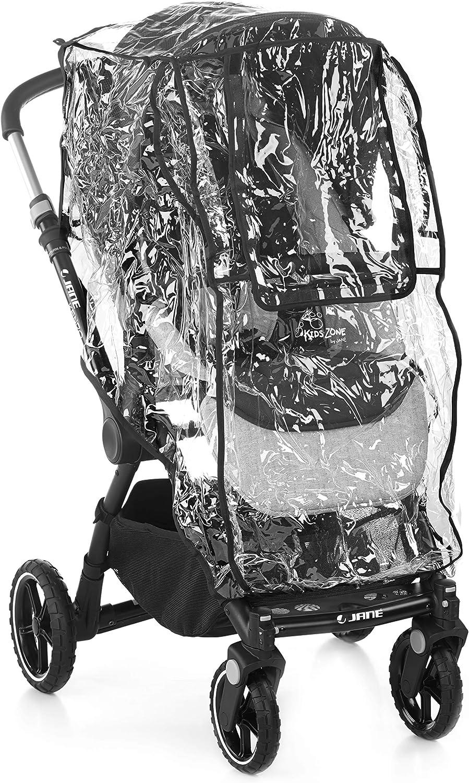 Jané Burbuja de Lluvia para Silla de Paseo y Cochecitos, Universal, Transparente, con Bolsa de Transporte, Ventana Central