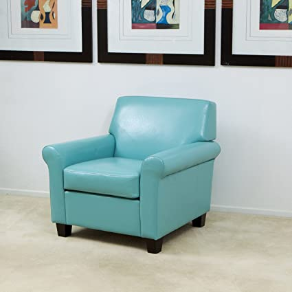 Amazoncom Addison Teal Blue Leather Club Chair Kitchen Dining