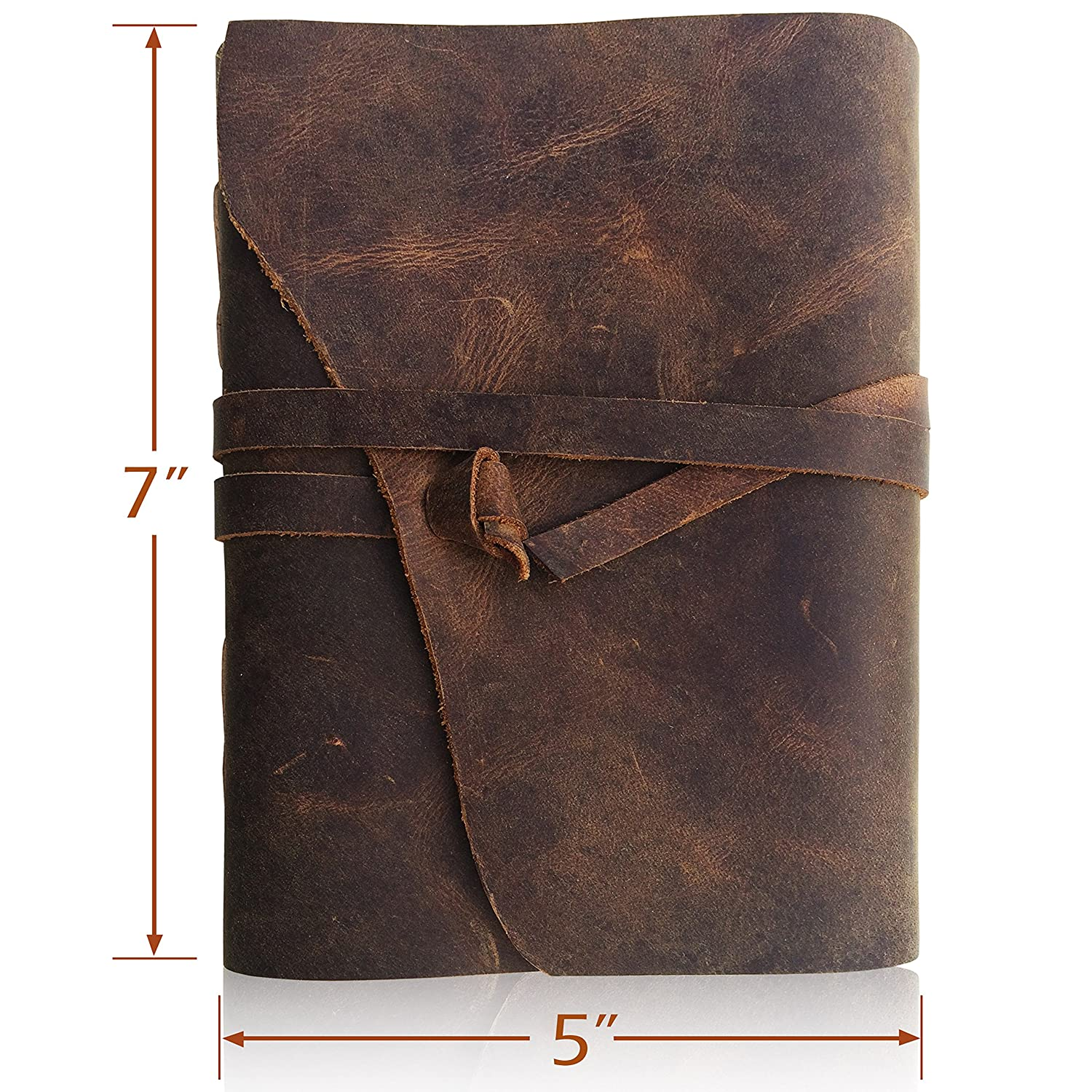 4f22a610f07cc Amazon.com   LEATHER JOURNAL Writing Notebook - Antique Handmade Leather  Bound Daily Notepad For Men   Women Unlined Paper 7 x 5 Inches
