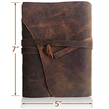 Leather Journal Writing Notebook - Antique Handmade Leather Bound Daily Notepad for Men + Women Unlined Paper 7 x 5 Inches, Perfect Present for Art Sketchbook, Travel Diary and Notebooks to Write in