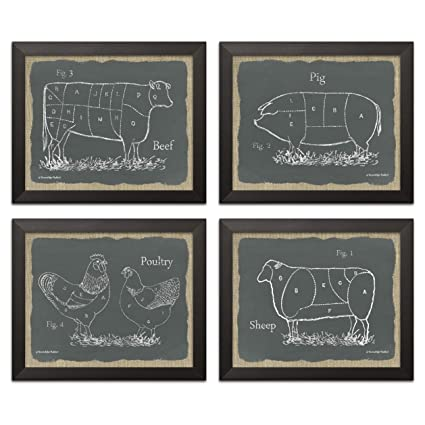 Gango Home Decor Chalkboard And Burlap Style Kitchen Art Sectioned Farm Animals Cow