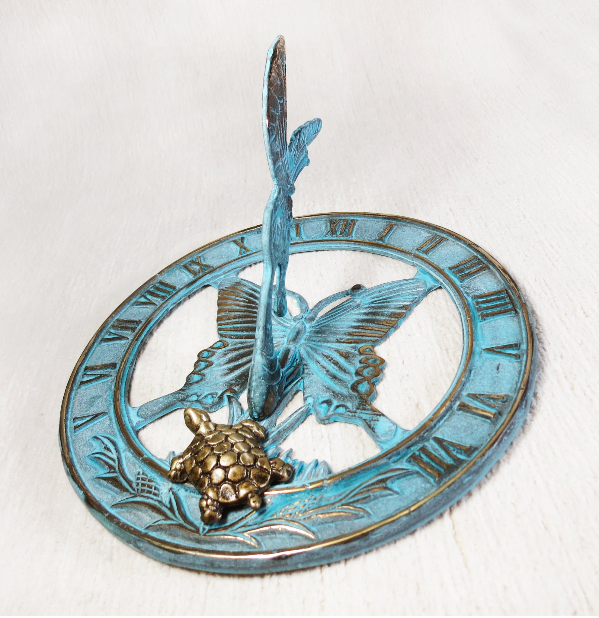 Brass Butterfly Sundial 8'' Inches Wide - With a Little Turtle