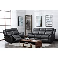 SC Furniture Ltd Grey High Grade Leather Gel Reclining 3 Seater Sofa + 2 Seater Recliner Sofa Suite NEWBURY