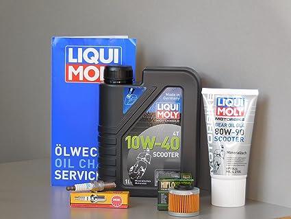 Mantenimiento Set Aprilia Scarabeo 125 Aceite endantriebsöl Bujía Inspección Service: Amazon.es: Coche y moto