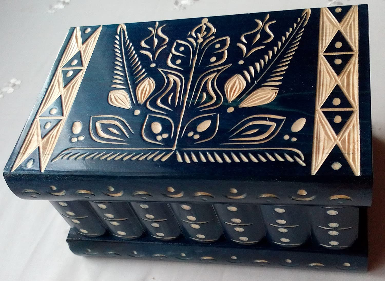 Big puzzle box blue jewelry box magic box new mystery wooden secret box tricky trinket handcarved wooden box hidden drawer key treasure