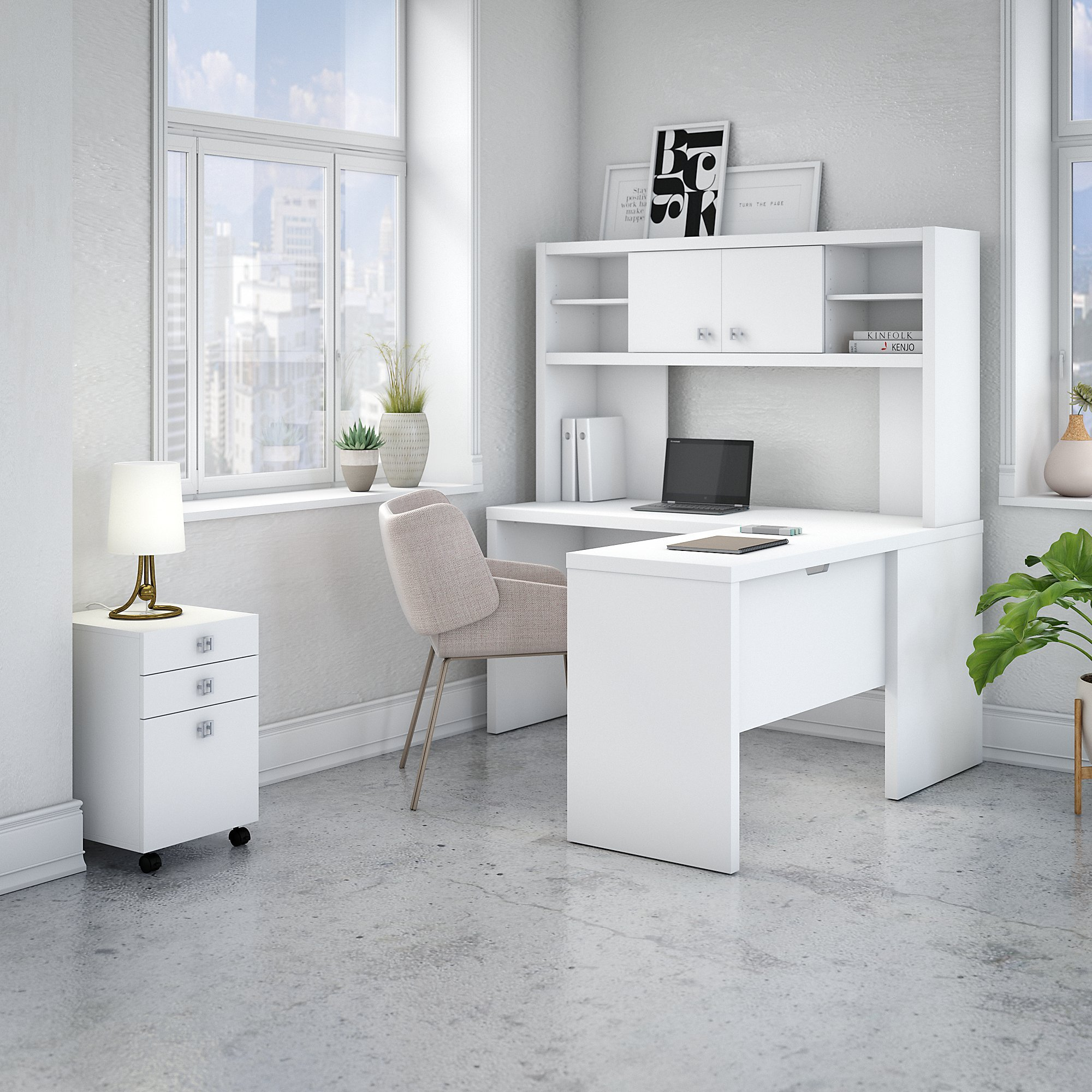 Office by kathy ireland Echo L Shaped Desk with Hutch and Mobile File Cabinet in Pure White by Office by kathy ireland (Image #2)