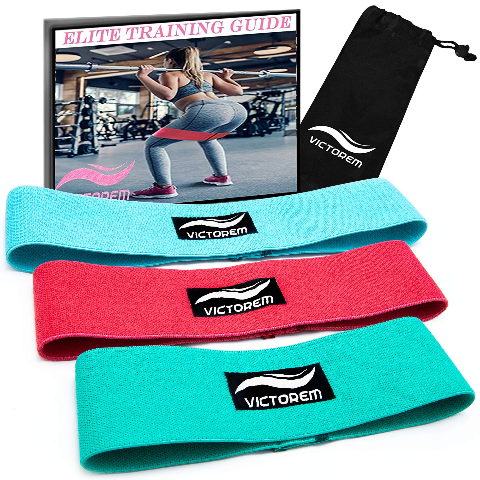 VICTOREM Booty Resistance Workout Hip Exercise Bands – Fitness Loop Circle Exercise Legs & Butt - Activate Glutes & Thighs – Thick, Wide, Cloth Bootie Training & Lifting Women's 80 Day Obsession