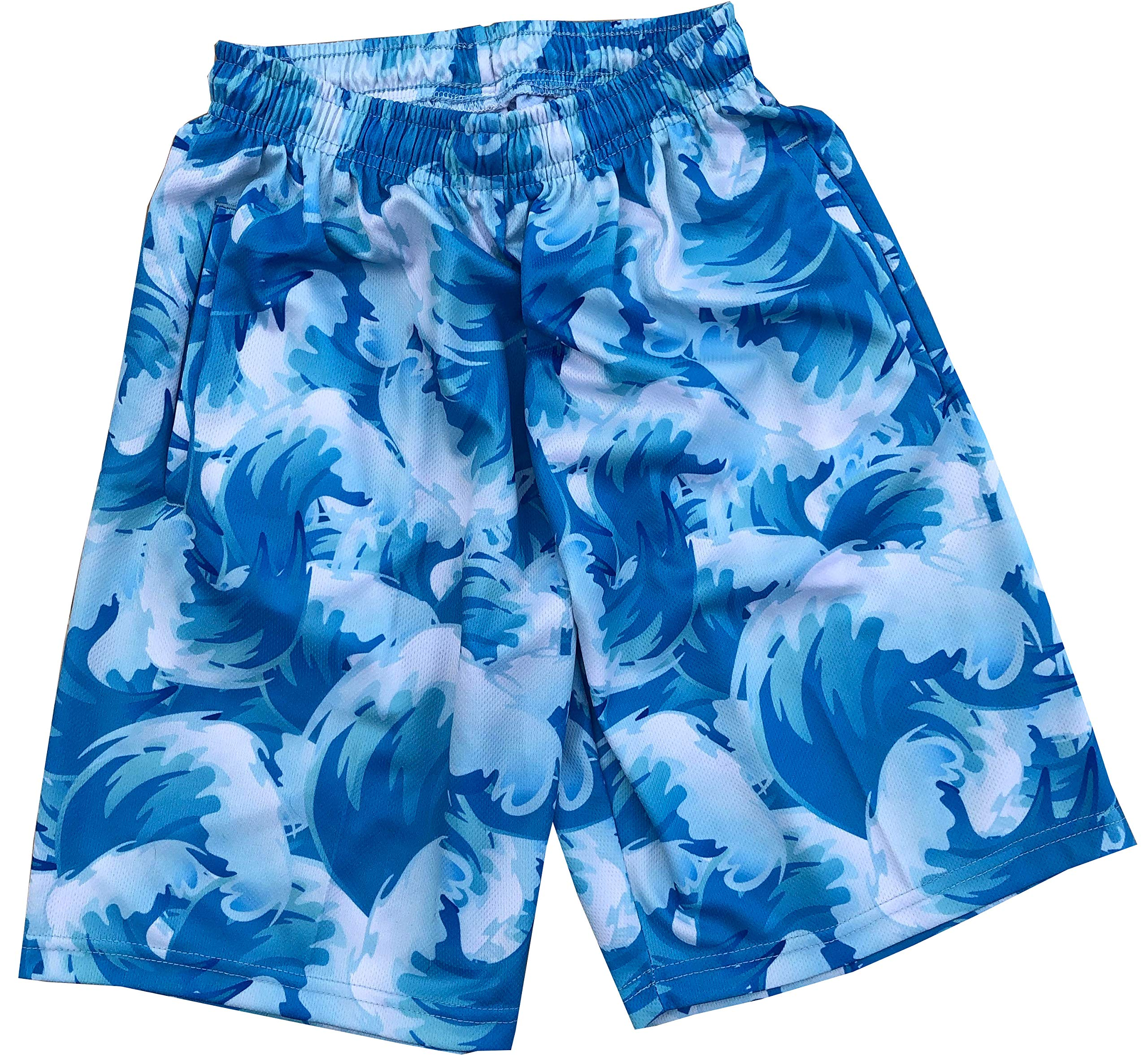 Lacrosse Shorts - Waves, Knee Length with Deep Pockets (Youth Large)