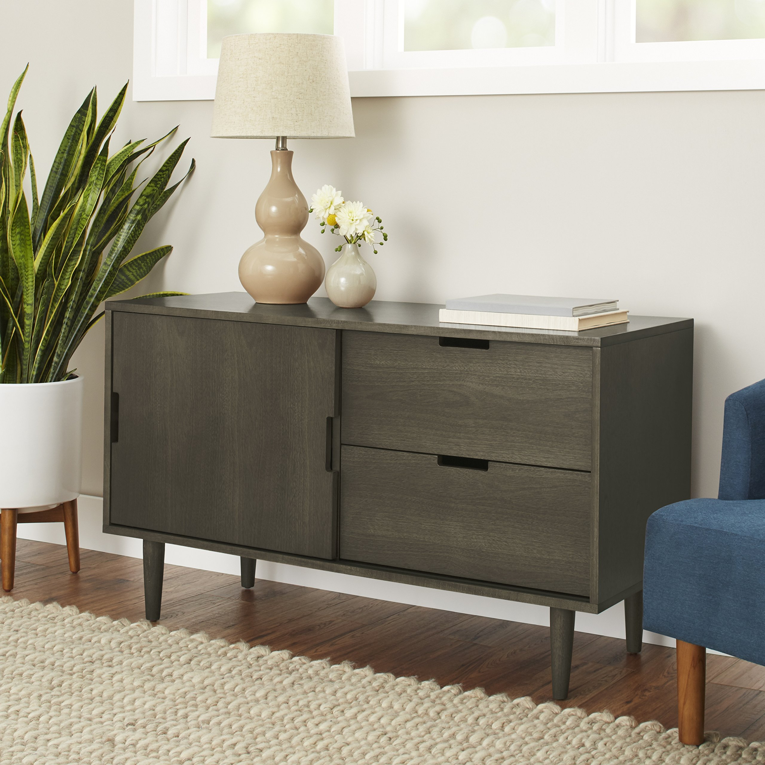 Better Homes and Gardens Flynn Mid Century Modern Credenza, Smoke Gray by Better Homes and Gardens (Image #1)