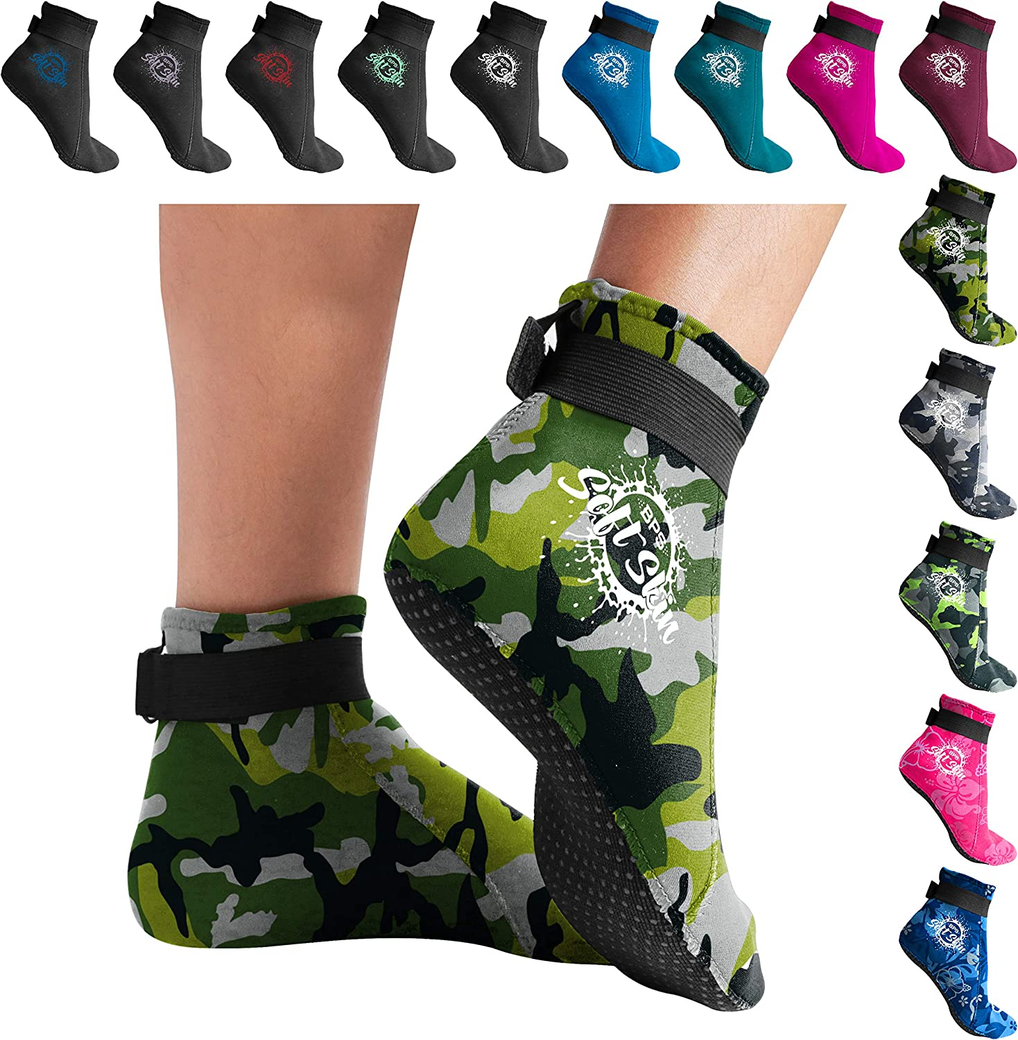 Snorkeling 3mm Neoprene Glued /& Blind-Stitched w//Fit Adjustment Straps BPS Storm Elite Sport Water Socks Water /& Sand Activities High Cut - More Coverage, Protection /& Warmth Tide-Pooling